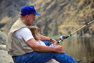 Grandfather fishing